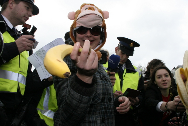 'National Bananas Front' demonstration in Ede, March 26th 2011. Photo: Karen Eliot